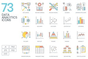 73 Data Analytics Color Line Icons
