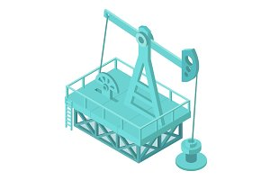 Oil pump extraction derrick. Oil mining industrial machine for petroleum. 3d isometric vector stock clipart illustration.