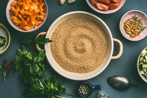 Couscous pot  with cut vegetables