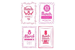 8 March Women's Day Collection Posters Invitation