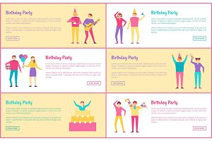 Set of Birthday Party Banners Vector Illustration