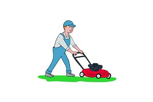 Gardener Mowing Lawn Cartoon