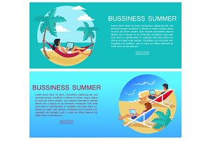 Business Summer Page and Text Vector Illustration