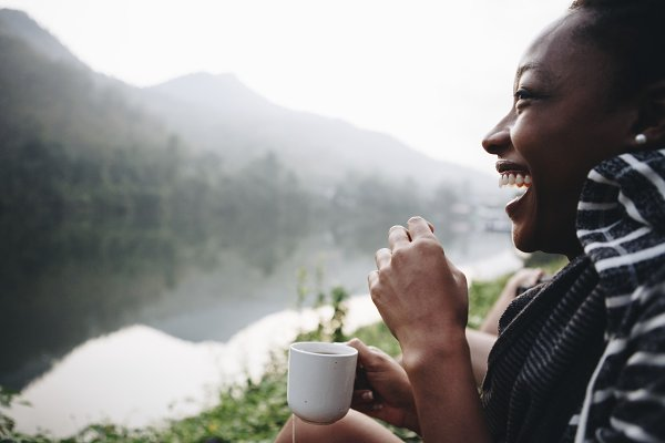 Woman enjoying morning coffee