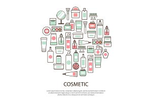 Cosmetic Collection with Text Vector Illustration