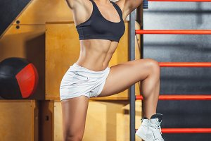 Beautiful woman  in gym