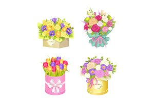 Bouquets in Box Collection Vector Illustration
