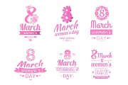 Set of 8 March Greeting Card International Holiday