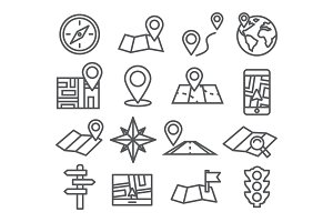 Navigation and Map line icons