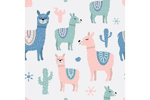 Childish seamless pattern with cute llama and cactus. Creative texture for fabric