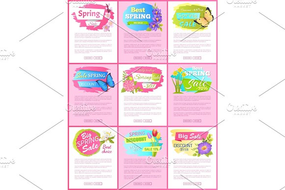 Springtime Blooming Promo Emblems on Landing Pages in Illustrations