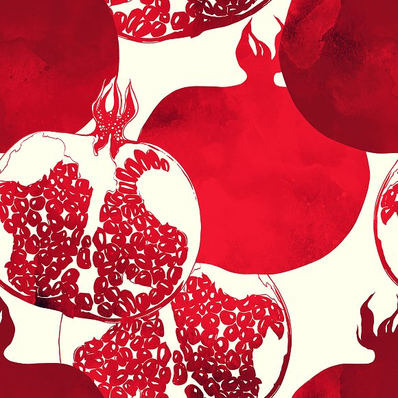 Pomegranate Seamless Pattern JPEG