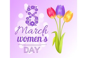 8 March Poster Womens Day Vector Illustration