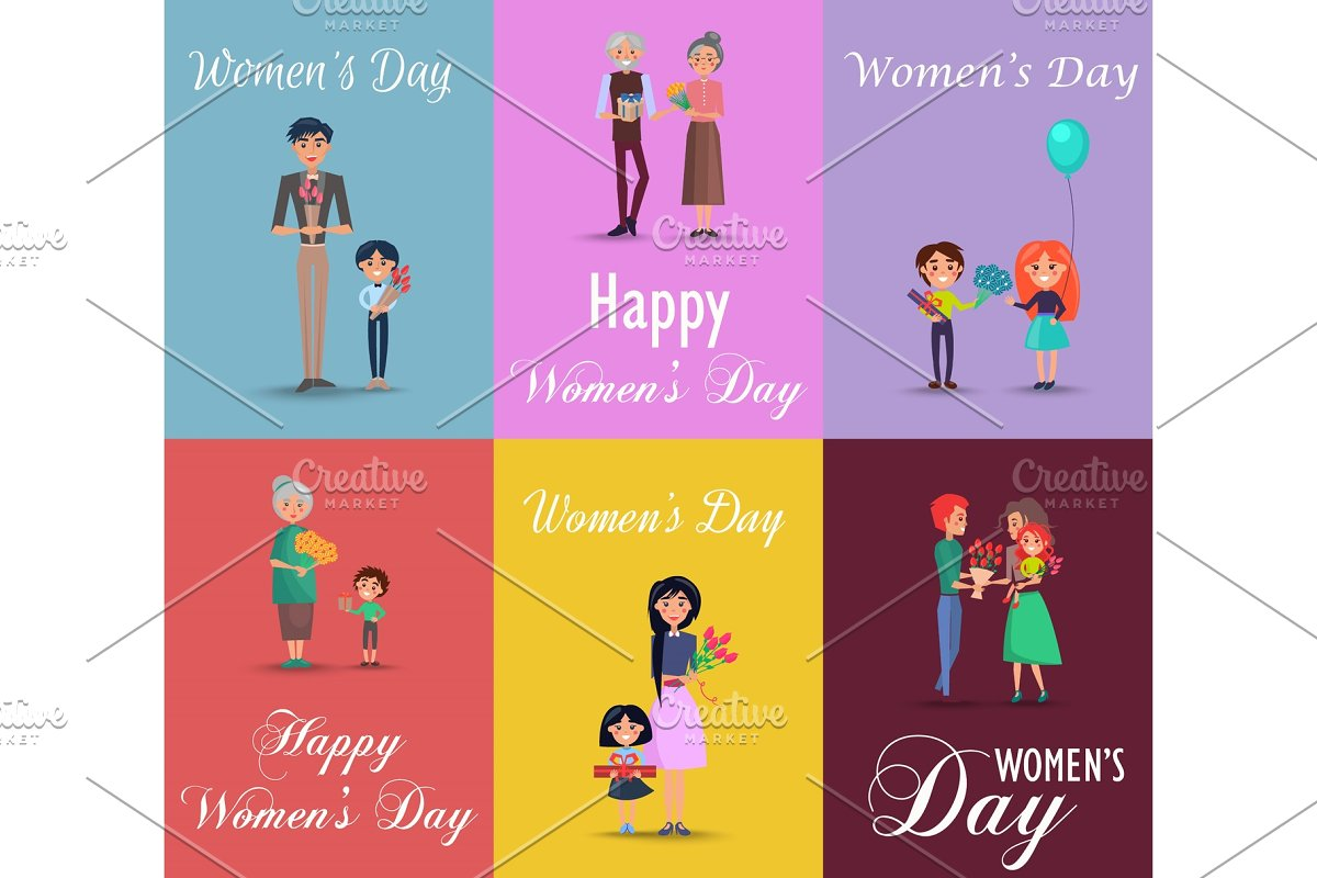 Six Posters on Womens Day with Gifts and Flowers in Objects - product preview 8