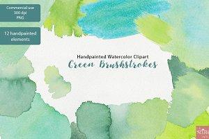 Watercolor Clipart Green Brushstroke