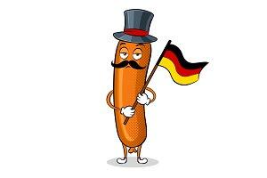 Bavarian sausage pop art vector illustration