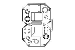Mechanical number 8 engraving vector illustration