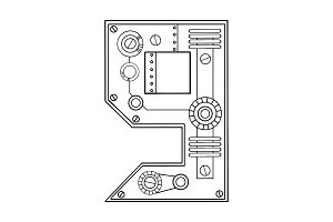 Mechanical number 9 engraving vector illustration