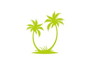 Silhouette of palm trees on the island.