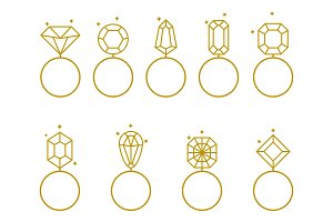 Wedding rings icon. Bride and groom jewelery sign.