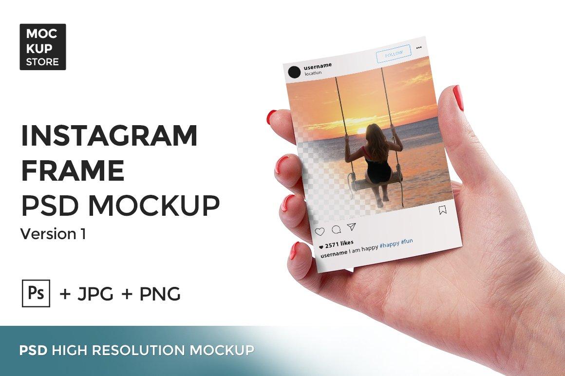 Instagram Frame in Hand version 1 ~ Product Mockups ~ Creative Market