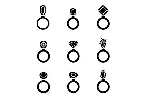Jewelry icons set. Wedding rings vector icon.