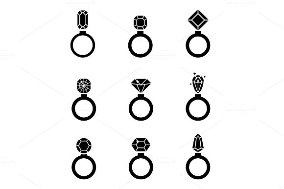 Jewelry Icons Set Wedding Rings Vector Icon