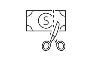 Scissors cutting money icon