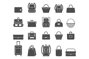 Shopping icons set. Bag icons.