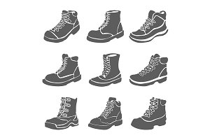 Set of nine different boots