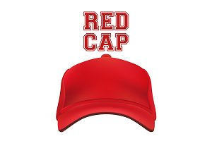 Red Cap isolated on white. Vector