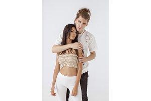 Interracial romantic couple in love
