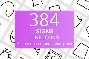 384 Sign Line Icons