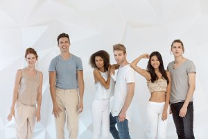 Group of young Multi-ethnic friends indoors in studio