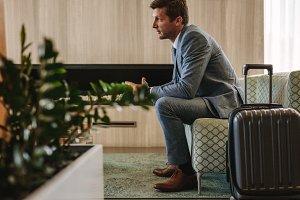 Businessman eagerly waiting
