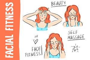 "Beauty illustration ""Facial fitness"""