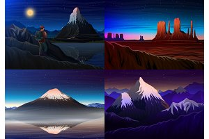 Night mountains background.