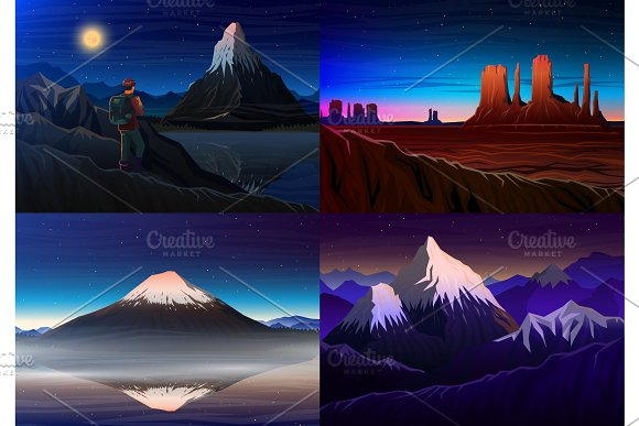 Mountain Everest Matterhorn Fuji With Tourist Monument Valley Night Panoramic View Peaks Landscape Early In Daylight Travel Or Camping Climbing Set Vector Illustration Outdoor Hill Tops