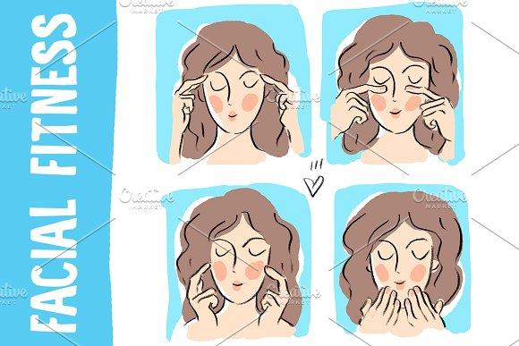 Beauty Illustration Facial Fitness