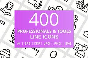 400 Professionals & Tools Line Icons