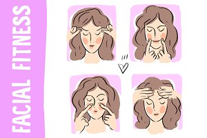 "Beauty illustration ""Facial fitness"""