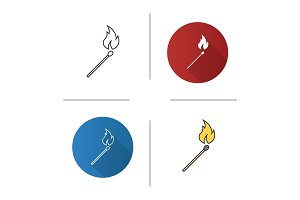 Burning matchstick icon