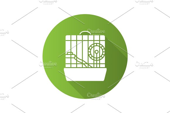 Hamster Cage Flat Design Long Shadow Glyph Icon