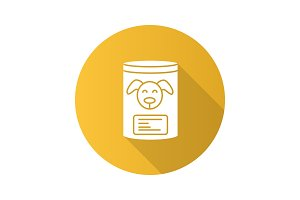 Canned dog food flat design long shadow glyph icon