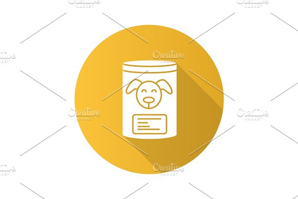 Canned Dog Food Flat Design Long Shadow Glyph Icon