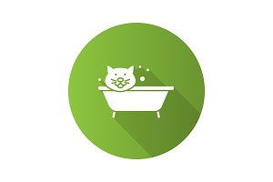 Bathing cat flat design long shadow glyph icon