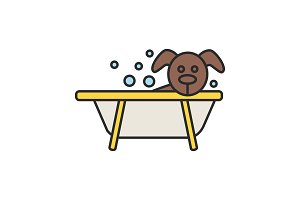 Bathing dog color icon