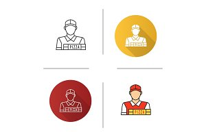 Pizza deliveryman icon