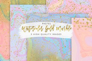 Watercolor gold marble