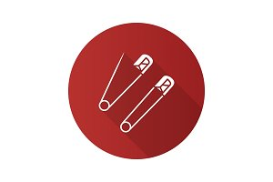 Safety pins flat design long shadow glyph icon
